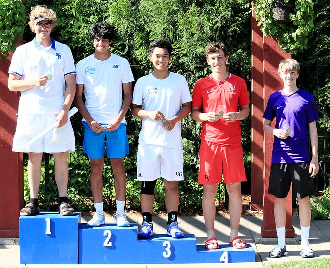 Curtis Sneden of Watertown, right, finished 5th in the 5th flight of singles on Friday during the state Class AA boys tennis tournament at Sioux Falls. Also pictured, from left, are champion Thomas Postma of Rapid City Stevens, runner-up James Yousef of Sioux Falls Lincoln, Liam Sarmiento of O'Gorman and Tayven Badger of Brandon Valley. Sarmiento took 3rd and Badger 4th.