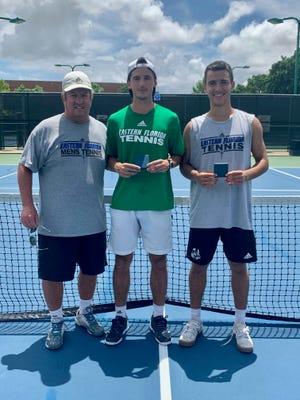 From left, EFSC men's tennis coach Bobby Cashman, Tomas Reche and Bernardo Vieira. Reche and Barnardo won a national title at No. 3 doubles Friday, May 21, 2021, at the NJCAA Division I National Tournament in Plano, Texas.