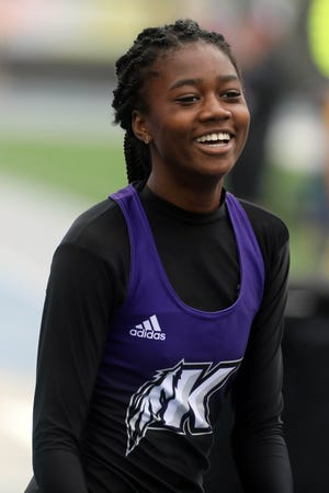 Keokuk High School's Miracle Ailes smiles after finishing  the Class 3A 200 meter dash during the final day of the 2021 Iowa High School Track and Field Championships Saturday May 22, 2021, at Drake Stadium in Des Moines.