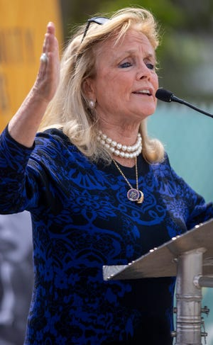 Debbie Dingell, U.S. Representative for Michigans 12th district, speaks at a groundbreaking for the Joe Louis Greenway on Monday, May 17, 2021, in Detroit.