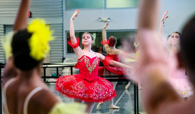 """Erin Decker performs a dance from """"Sleeping Beauty"""", a performance the Naples Ballet is preparing to put on.    Talking to two dance schools with spring shows, about how they survived through a year of pandemic to put on several shows, including the upcoming """"Alice in Wonderland"""" being performed by the dancers at Etudes de Ballet  and """"Sleeping Beauty"""", performed by Naples Ballet."""