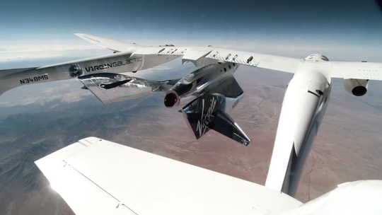 Virgin Galactic's VSS Unity releases from VMS Eve and then ignites into space over Spaceport America, New Mexico, on Saturday, May 22, 2021.