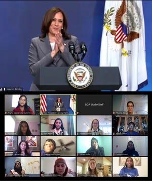Vice President Kamala Harris speaks to high school seniors at the White House virtual graduation ceremony.