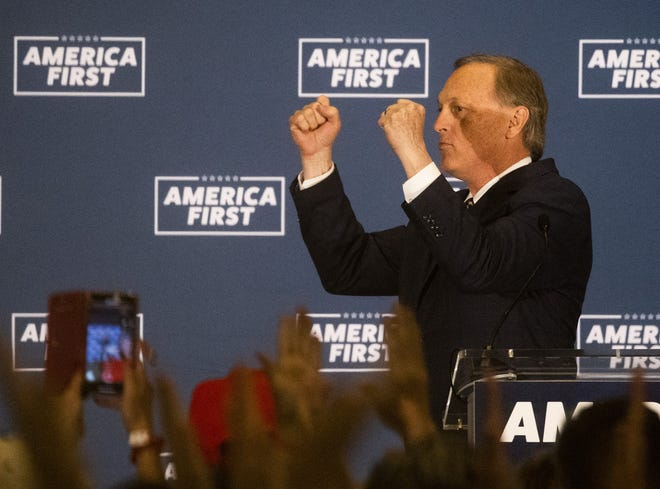 Rep. Andy Biggs, R-Ariz., takes the stage during a Mesa fundraiser on May 22, 2021.