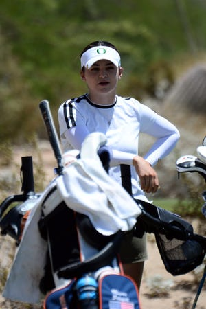 Oregon's Briana Chacon, seen here during Saturday's second round, is tied for 10th place at the NCAA Championships.