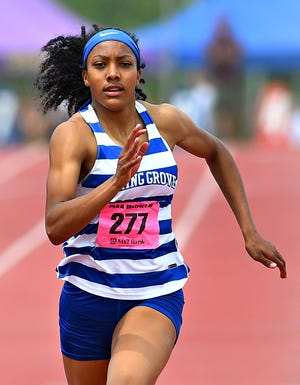 Spring Grove's Laila Campbell wins the 3-A girls' 200-meter dash event at 24.11 during PIAA District III Track & Field Championships in Seth Grove Stadium at Shippensburg University in Shippensburg, Saturday, May 22, 2021. Dawn J. Sagert photo