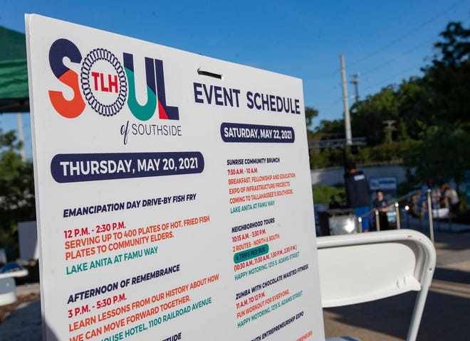 A list of events is posted around Anita Favors Park during the Inaugural Soul of Southside Festival on Saturday, May 22, 2021.