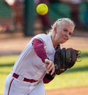 Florida State utility player Sydney Sherrill (24) throws to first. Florida State defeated Kennesaw State 6-2 in the first round of the Tallahassee Regionals Friday, May 21, 2021.