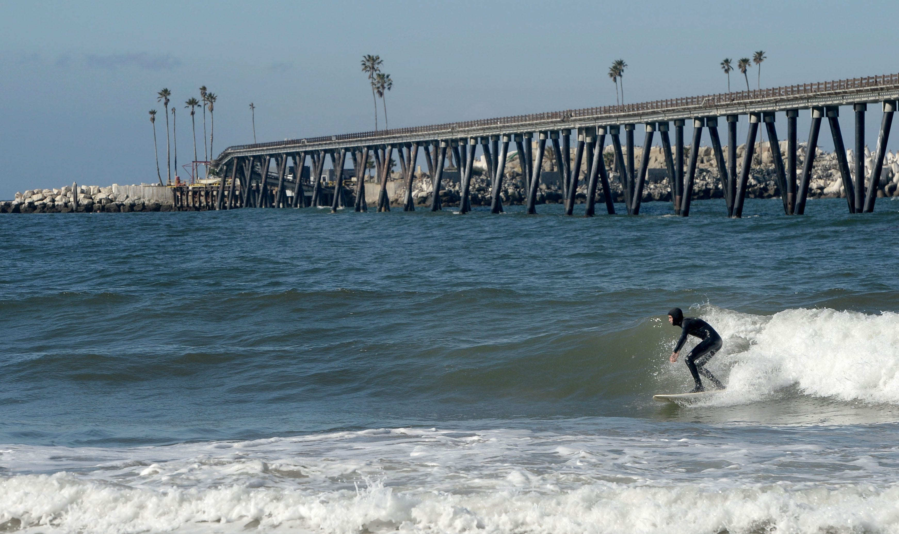 A surfer catches a wave near Rincon Island, just off the coast of Mussel Shoals. The state of California paid tens of millions of dollars to plug and abandon the island's oil wells after the operator, Rincon Island Limited Partnership, filed for bankruptcy protection.