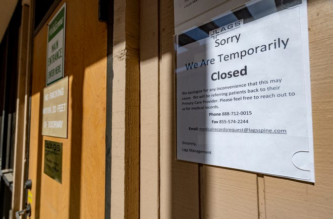 This LAGS Medical Center office, a pain management clinic in Visalia, is one of many closed in Tulare, Kings, Fresno, Madera, and Merced counties. The abrupt closure leaves patients coping with chronic pain scrambling to find alternative care.