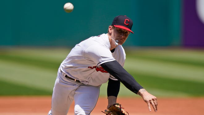 Cleveland starter Zach Plesac has been placed on the injured list with a non-displaced fracture of his right thumb. [Tony Dejak/Associated Press]