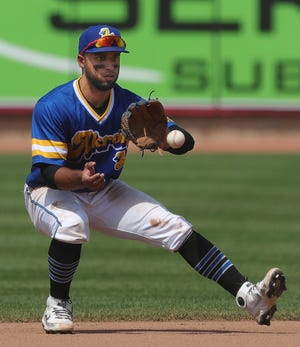 Second baseman Jose Fermin (1) recently had a game-winning hit for a RubberDucks team with its eyes on a playoff spot in the Double-A Northeast.
