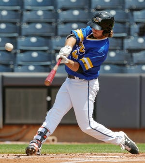 RubberDucks outfielder Trenton Brooks (13) hits a three-run homer to right-center field in the first inning of a 13-1 win over the Reading Fightin' Phils on Sunday at Canal Park. [Jeff Lange/Beacon Journal]