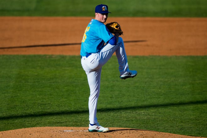 Amarillo Sod Poodles pitcher Tommy Henry (16) pitches against the Midland RockHounds on Saturday, May 22, 2021, at Hodgetown in Amarillo.