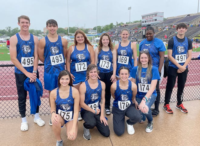 Competing at the state track meet over the weekend in Jeff City for the New Franklin boys and girls track teams were (front row, left to right) Larissa Starke, Douglass Creason, Carly Dorson, and Emma Rice.  (back row, left to right) Tysen Dowell, Drake Clark, Kayce Hundley, Faith Painter, Dakota Clark, Kelsi Fair, and Jacob Marshall.