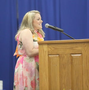 Boonville ELA teacher Abby Arnette was the keynote speaker for the Class of 2021 Sunday at the Windsor gymnasium at Boonville High School. Arnette told the graduating class of 2021 to be kind to others and go out in the world and be great.