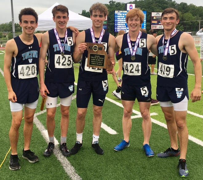 Members of the Tolton boys track and field team pose for a photo after winning the Class 2 championship Friday in Jefferson City.