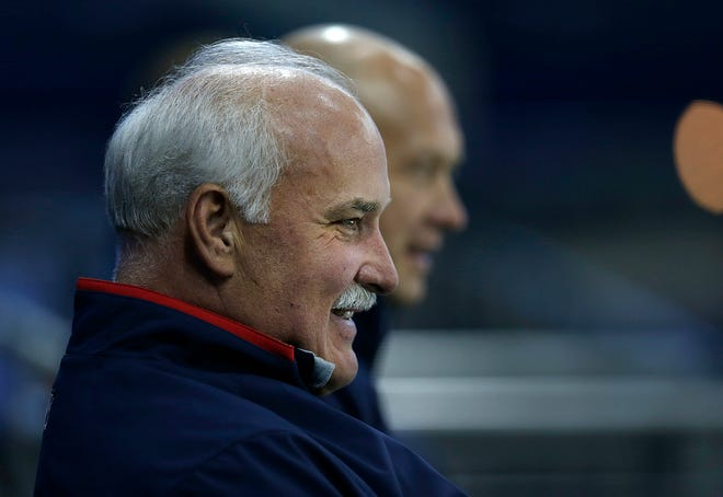 Blue Jackets president  John Davidson, left, and general manager Jarmo Kekalainen in 2013. Davidson's rehiring makes Columbus just the sixth of 32 NHL teams with a hockey operations positionranked higher than the GM.