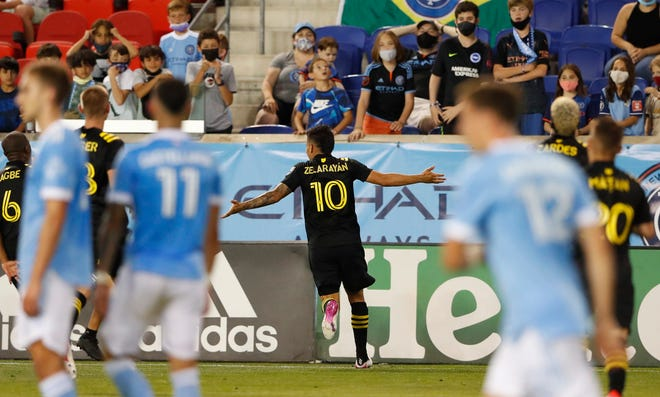 Crew midfielder Lucas Zelarayan  celebrates after scoring against New York on Saturday. Zelarayan became the second player in Crew history to score on two free kicks in a game.