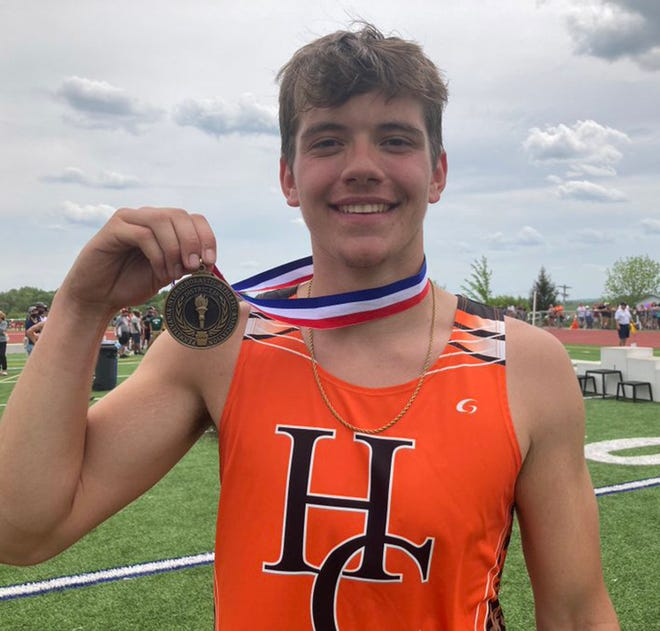 Harbor Creek's Logan Williams won the shot put Saturday, May 22, 2021, in the District 10 Class 3A track and field championships at Slippery Rock University.