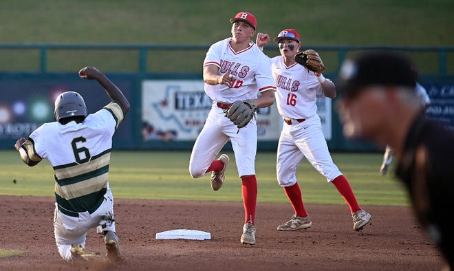 Bloomingdale shortstop Colby Shelton (10) turns a double play to retire Fleming Island runner Marcus Murray (6) during the Class 6A state baseball title game in Fort Myers, Saturday, May 22, 2021. [Chris Tilley/Special to the Times-Union]