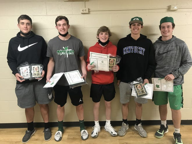 Varsity basketball players receiving end-of-season awards are, from left, Nathan VanDeWoestyne, Kade Ariano, Charlie Clauson, Kyle Traphagan and PJ Moser. Bristol Lewis also received awards, but was absent for the photo.