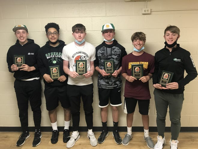 The Geneseo sophomore basketball players receiving end-of-season awards are, from left, Calvin Pettit, Jacob Harris, Karson Emry, Jaden Weinzierl, Tayt Hager and Mason Lovig