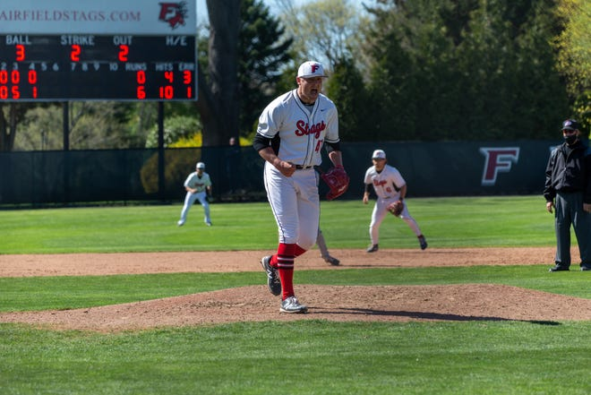 Franklin's Jake Noviello is pumped after getting out of a jam for the Fairfield University baseball team.