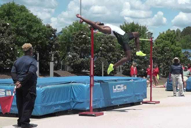 Notre Dame incoming freshman wide receiver Deion Colzie clears 6-feet-8 in the high jump, May 14 at the Georgia Class A Private state track and field meet in Powder Springs, Ga.