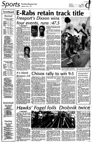 This 1981 front page of the Rockford Register Star sports section highlights the accomplishments of Freeport's Leroy Dixson.