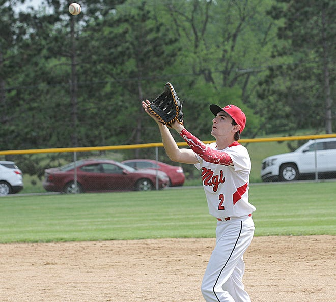 Chris Frye of Colon snags a ball for an out against Kalamazoo Christian on Saturday afternoon.