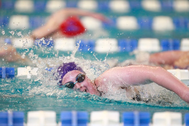 Coming close to lapping the competition in the 500 yard freestyle, Topeka West's Kadence Jeffries finishes first with a time of 5:03.13 at Saturday's Class 1-5A State Championship at Capitol Federal Natatorium.