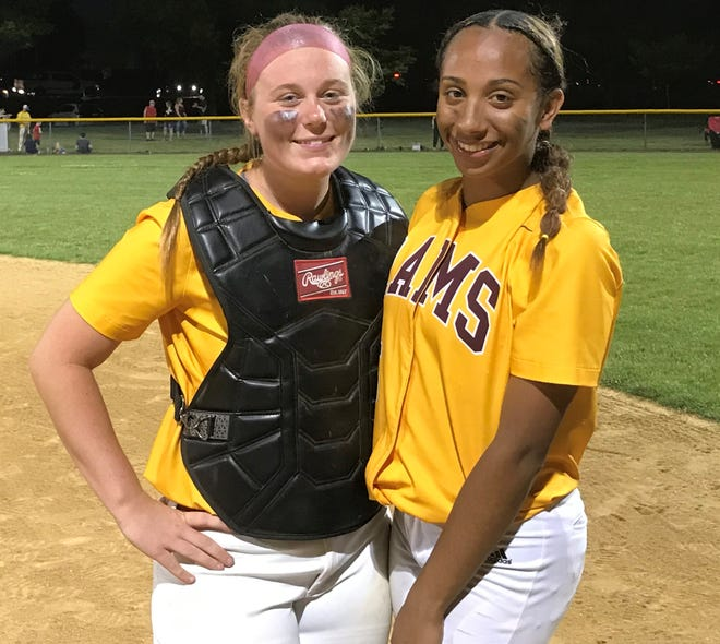 Gloucester Cathoic's Cambrie Todd, left, and Adrianna Green were prime-time players on Saturday night, helping lead the Rams to a 7-4 victory over rival Gloucester.
