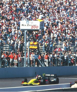 Andre Ribeiro winning at New Hampshire Intl. Speedway on August 20, 1995, Honda's first victory in Indy car competition.