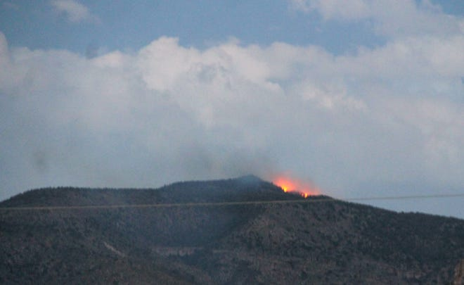 The Marble Fire as seen from East First Street in Alamogordo on May 22, 2021.  The fire began north of Marble Canyon near Hershberger Peak above West Side Road.