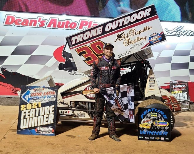 Chase Dietz is shown here after his Lincoln Speedway win on Saturday night.