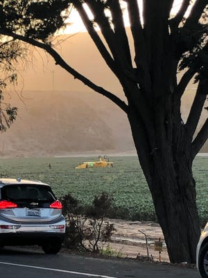 A biplane crashed in this crop field near Ventura on the evening of Saturday, May 22, 2021. The two occupants onboard were uninjured.