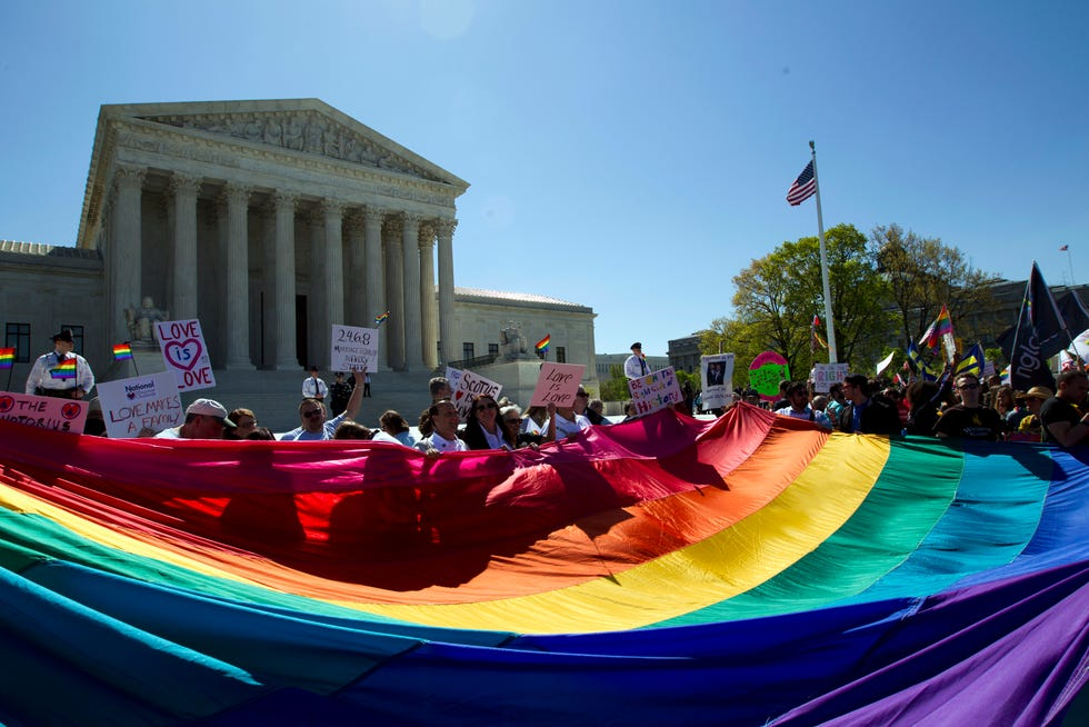 Rainbow flag at the Supreme Court in Washington on April 28, 2015, as the court prepared to hear historic arguments on same-sex marriage.