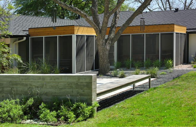The Foleys' East Austin backyard near the Mueller area creates different zones of interest and features a new screened-in porch. It is on the Outdoor Living Tour.