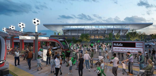 An artist's rendering shows what the proposed Red Line rail station at Q2 Stadium could look like.
