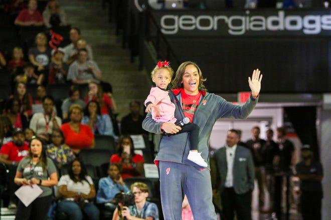 Georgia head coach Joni Taylor during Stegmania in Stegeman Coliseum in Athens, Ga., on Friday, Oct. 11, 2019. (Photo by Chamberlain Smith)