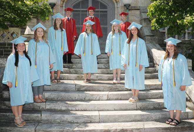 The Top 10 seniors for the Alliance High School Class of 2021, pictured May 20 at Glamorgan Castle, are, from left, front to back, Kamryn Bondoni, Elizabeth Davidson, Julia Schwartz, Alyssa White, Kyleigh Ferrall, Meghan Frazier, Taylor Boschini, Matthew Eversdyke, Anthony Zumbar and Kevin Zurbrugg.