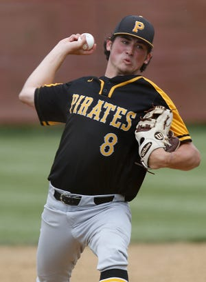 Black River High School's Conner Burke (8) delivers a pitch against Canton Central Catholic High School during their OHSAA Division III district semifinal baseball game Monday, May 24, 2021 at Norwayne High School. Canton Central Catholic won the game 11-1. TOM E. PUSKAR/TIMES-GAZETTE.COM