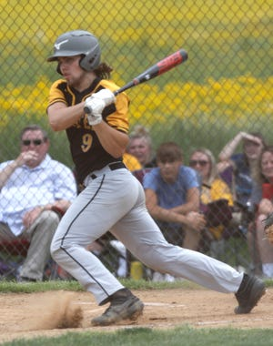 Black River High School's Carter Kocik (9) bats against Canton Central Catholic High School during their OHSAA Division III district semifinal baseball game Monday, May 24, 2021 at Norwayne High School.