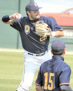 Oklahoma Wesleyan University's Ryan Kouba makes a throw for an out.