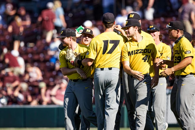 The Missouri Tigers huddle together during a game between the Tigers and the Mississippi State Bulldogs at Dudy Noble Field at Polk-Dement Stadium in Starkville, Miss. on May 15.