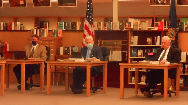 At the Wallenpaupack school board meeting, May 10, from left, were Assistant Superintendent Keith Gunuskey; Superintendent Michael Silsby and Board President, John Spall, Esq.
