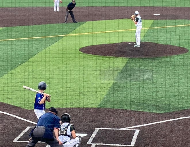 Mercyhurst Prep pitcher Conor Fitzgerald prepares to deliver to a Greenville hitter in a District 10 Class 3A quarterfinal Monday, May 24, 2021, at Mercyhurst University.