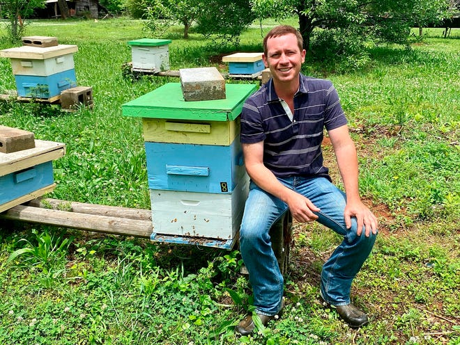 Justin Hill, the founder and owner of Eastaboga Bee Company, sits among the hives in his bee fields in rural Eastaboga, Ala.