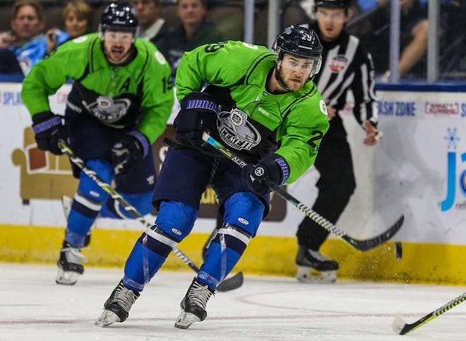 Icemen forward Craig Martin (29) advances the puck during the second period against the Florida Everblades on April 11.